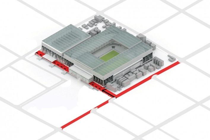 Complexo Esportivo e Cultural Clube Atlético Paranaense, axonométrica do conjunto, Curitiba. Arquiteto Carlos Arcos<br />Imagem divulgação