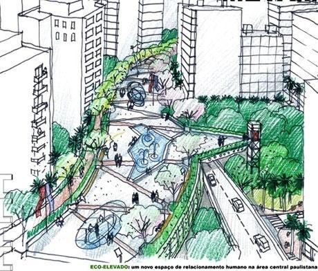 Eco-elevado: um novo espaço de relacionamento humano na àrea central paulistana<br />Imagem do autor do projeto