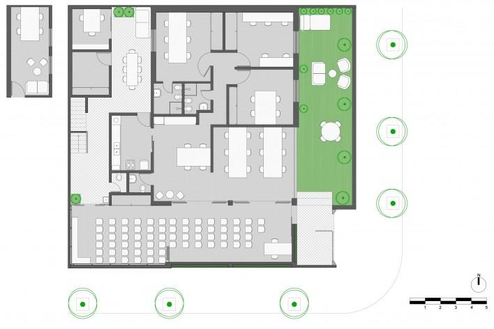 Wikilab Coworking, planta baixa com configuração de auditório de 60 pessoas, São Carlos, 2016. Arquiteto José Calijuri Hamra<br />Imagem divulgação