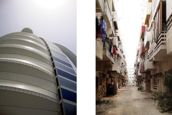 À esquerda, Hotel Burj Al Arab; à direita, alameda do bairro Al Karama, reduto de imigrantes Indianos e Filipinos<br />Foto Luiz Gustavo Sobral Fernandes
