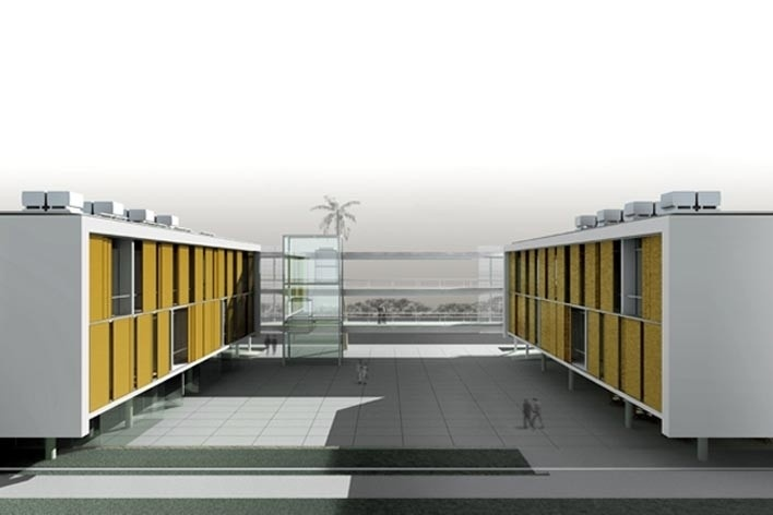 Dormitórios e alojamentos para professores e estudantes. Sic Arquitetura, 2008<br />Imagem escritório