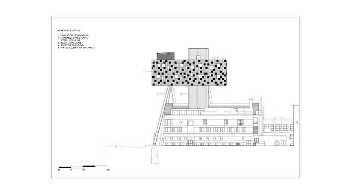 Sharp Center, elevação norte, Toronto, arquiteto Will Alsop, 2004<br />Imagem Alsop Architects