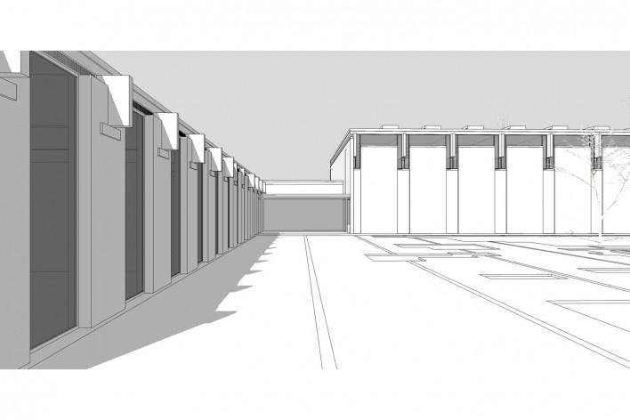 Saint Catherine's College, vista parcial do edifício de serviço e do refeitório, Oxford, Inglaterra, 1959-1964, arquiteto Arne Jacobsen<br />Modelo tridimensional de Edson Mahfuz e Ana Karina Christ