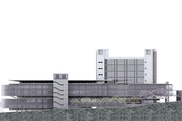 Centro de Referência em Empreendedorismo do Sebrae-MG, fachada Rua Botorubi, 3º lugar. Arquiteto Enrique Hugo Brena, 2008<br />Desenho escritório