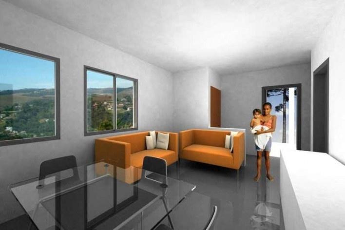 Interior. Concurso Habitação para Todos CDHU.Casas escalonadas-Menção honrosa.<br />Autores do projeto  [escritorio premiado]
