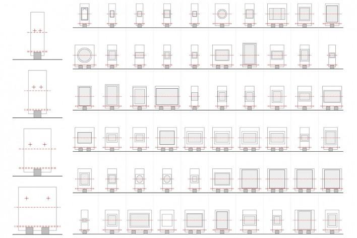 Cavaletes de vidro reconstruídos, modelos A, B, C e D. Metro Arquitetos Associados