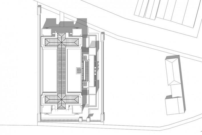 Edifício Larkin, planta situação, Buffalo, Nova York, EUA, 1905. Arquiteto Frank Lloyd Wright<br />Modelo tridimensional Ana Clara Pereira dos Anjos / Imagem Edson da Cunha Mahfuz