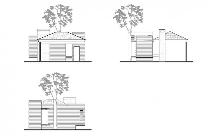 Casa Lutzenberger, elevações do anexo. Reforma Kiefer arquitetos