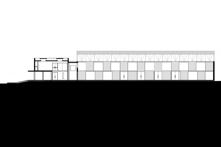 Cootrapar – cooperativa de trabajadores de aceros del Paraguay. Corte longitudinal. Arq. Luis Alberto Elgue y Arq. Cynthia Solis Patri. Villa Hayes, Paraguay. 2007 – 2008.