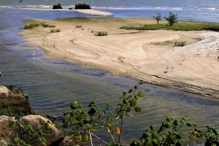 Ampliação da praia com sedimentos argilosos trazidos pelo riacho<br />Foto José Tabacow