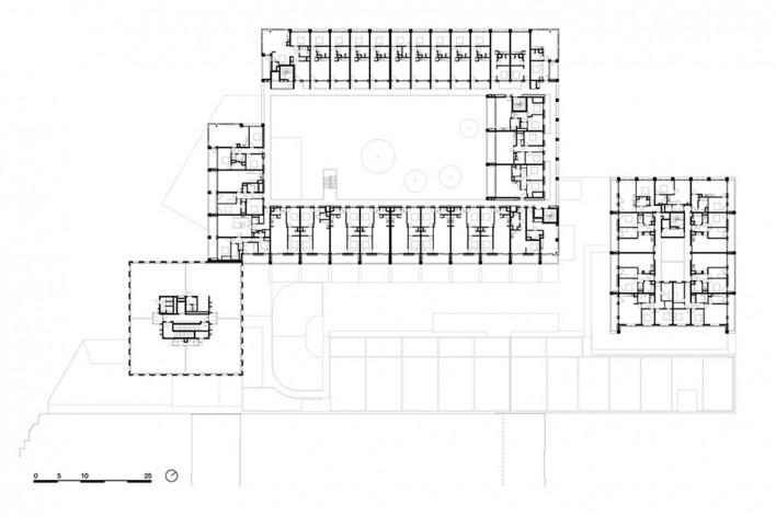 Bottière Chénaie, fifth floor plan, Nantes, France, 2019. Architects Kees Kaan, Vincent Panhuysen, Dikkie Scipio (authors) / Kaan Architecten<br />Imagem divulgação/ disclosure image/ divulgation  [Kaan Architecten]