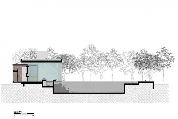 Kiosk EL165, section CC, Gravataí RS Brasil, 2016. Architects Diego Brasil and Anderson Calvi / Br3 Arquitetos<br />Imagem divulgação / disclosure image  [Br3 Arquitetos]