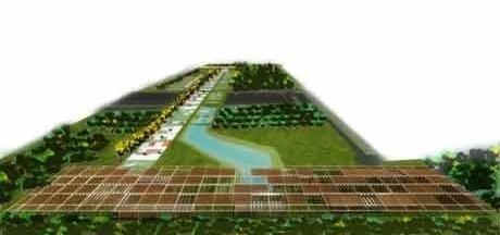 Vista aérea geral do parque com pérgola ao primeiro plano<br />Imagem dos autores do projeto