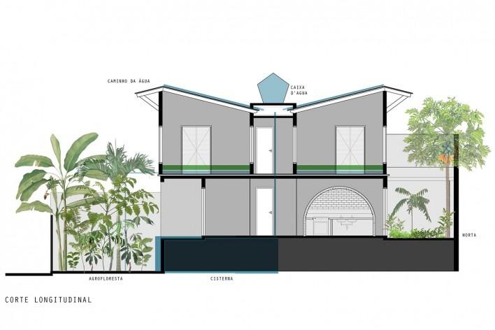 Casa do arquiteto, corte longitudinal, Butantã, São Paulo, 2012. Arquiteto Tomaz Lotufo<br />Desenho Flávia Burcatovsky  [Escritório Tomaz Lotufo]
