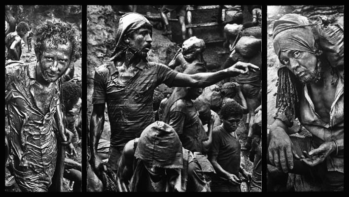 """""""O inferno de Bosch segundo Sebastião Salgado"""", tríptico 10, fragmentos da exposição fotográfica """"Gold – Mina de Ouro Serra Pelada""""<br />Fotomontagem de Abilio Guerra"""