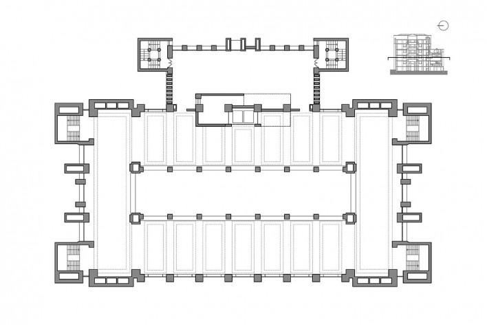 Edifício Larkin, planta primeiro pavimento, Buffalo, Nova York, EUA, 1905. Arquiteto Frank Lloyd Wright<br />Imagem reprodução / imagen reproducción  [Website Història en Obres]