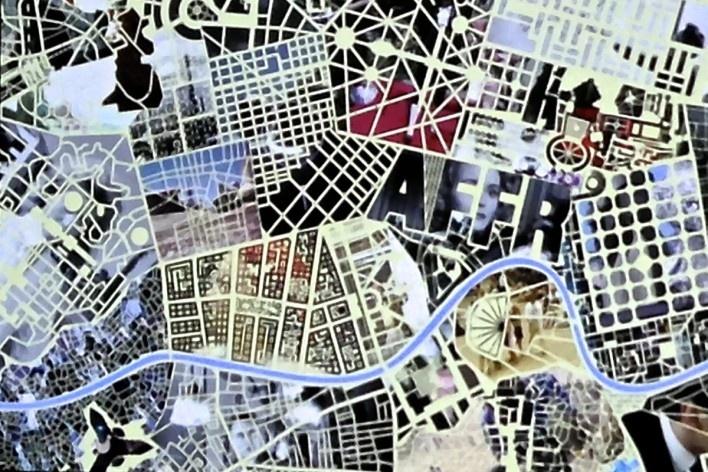 Mix de planos de cidades projetado na chamada do festival<br />Foto Fabio Lima