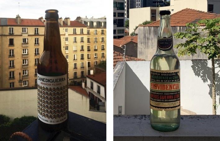 """Bohemian Pilsner é uma cerveja checa tradicional produzida pela """"Canediguerra"""", empresa italiana de bebidas; Aguardente Providência é uma pinga de antigamente, caprichosamente engarrafada pelos """"Irmãos Guerra"""", empresa brasileira de bebidas, já extinta<br />Fotos dos autores"""