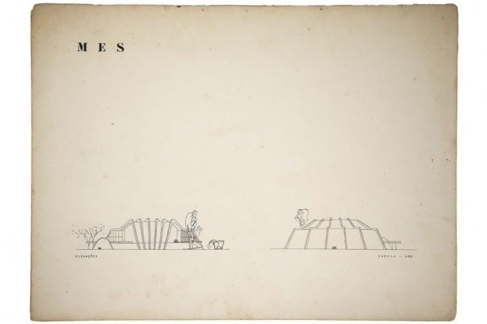 Prancha 3 – Auditório para o edifício do Ministério da Educação e Saúde, elevações, Rio de Janeiro, 1948. Arquiteto Oscar Niemeyer<br />Digitalização Daniel Cabrel  [Coleção Rolando Figueiredo]
