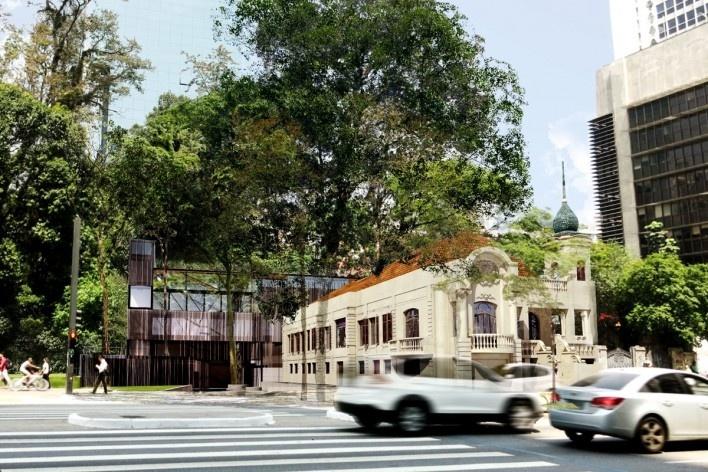 Museu da Diversidade Sexual, edifícios velho e novo, e parque. Hereñú + Ferroni Arquitetos, 2014<br />Imagem divulgação