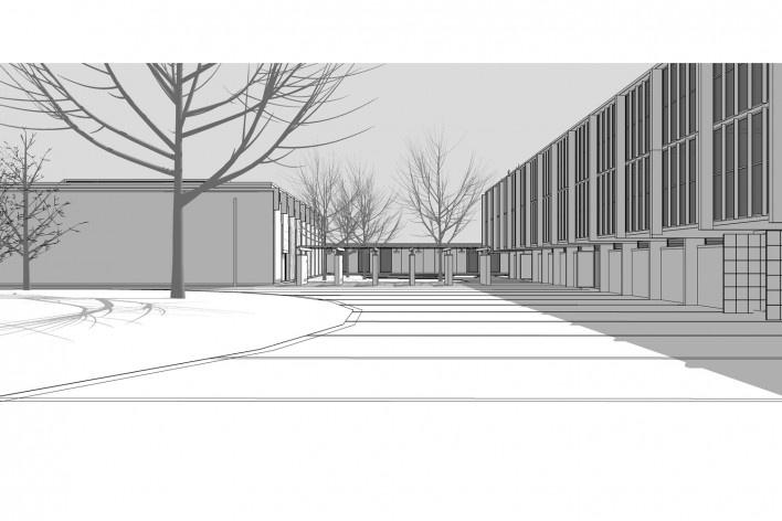 Saint Catherine's College, vista do quad, sem cerca viva, Oxford, Inglaterra, 1959-1964, arquiteto Arne Jacobsen<br />Modelo tridimensional de Edson Mahfuz e Ana Karina Christ