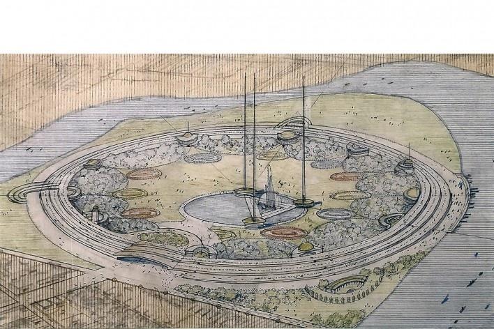 "Universidade de Bagdá, 1957, Frank Lloyd Wright, mostra ""The Human Insect: Antenna Architectures 1887-2017""<br />Foto Ana Tagliari / Wilson Florio, 2018"