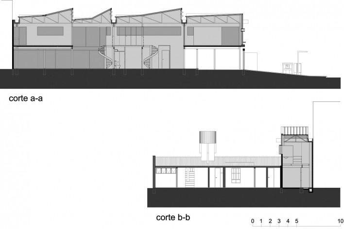 Casa de Ipanema, cortes, Sergio M. Marques, 2007/2009<br />Desenho Sergio M. Marques