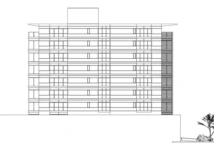 Nova Sede da AACRT – Associação dos Aposentados da Companhia Riograndense de Telecomunicações, fachada lateral sudeste. Moojen & Marques Arquitetos Associados + Arquiteto Cláudio Ferraro, 2008<br />Desenho escritórios