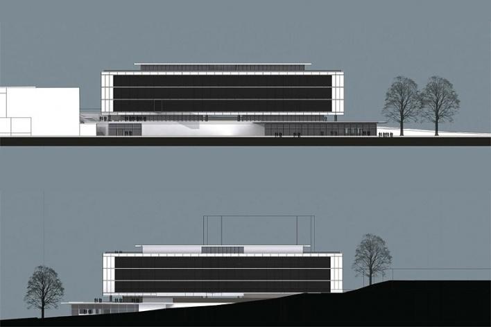 Centro de Referência em Empreendedorismo do Sebrae-MG, fachadas frontal e posterior, menção honrosa. Arquiteto Marcos Alexandre Jobim, 2008<br />Desenho escritório