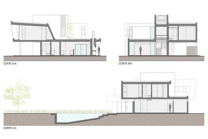 Casa H, seccións, Funes, Argentina. Arquitectos Matías Blas Imbern y Agustina González Cid