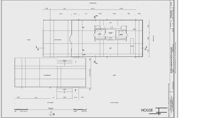 Casa Edith Farnsworth, cortes, Plano, Illinois, Estados Unidos. Arquiteto Ludwig Mies van der Rohe, 1951 [National Trust for Historic Preservation]
