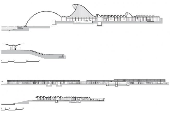 """Sarah Brasília Lago Norte, cortes prédio principal e do abrigo para embarque e desembarque, Brasília DF<br />Divulgação  [LIMA, João Filgueiras (Lelé). """"Arquitetura - uma experiência na área da saúde""""]"""