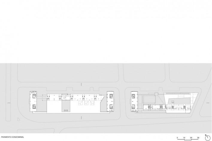 Planta pavimento condominial, conjunto habitacional do Jardim Edite<br />Desenho MMBB & H+F