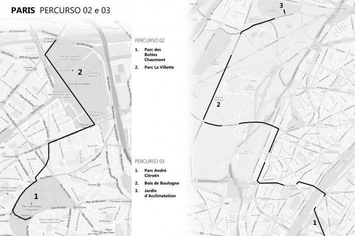 Paris, percursos 2 e 3<br />Mapa de viagem