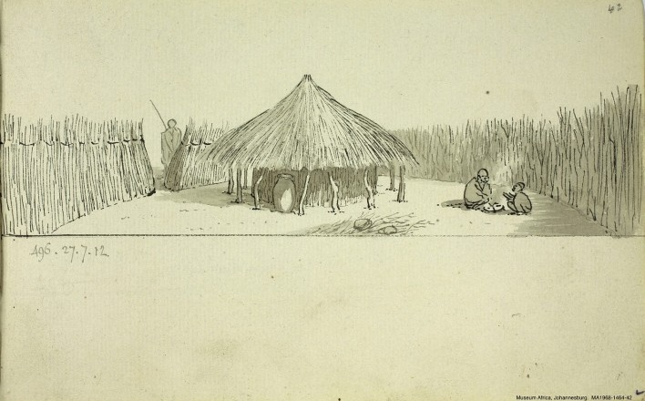 África do Sul, uma choupana Bechuana, n. 496, 27 jul 1812<br />William John Burchell  [Collection Museum Africa, Johannesburg]