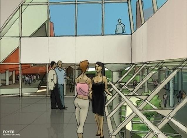 Croqui perspectiva foyer<br />Imagem do autor do projeto