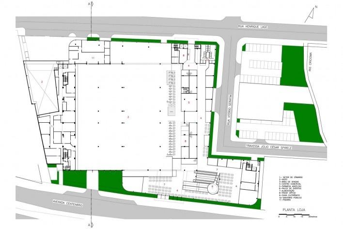Supermercado Angeloni, planta da loja, Criciúma, 1976-1978 (original) e 2009-2011 (reforma e ampliação). Douglas Piccolo Arquitetura