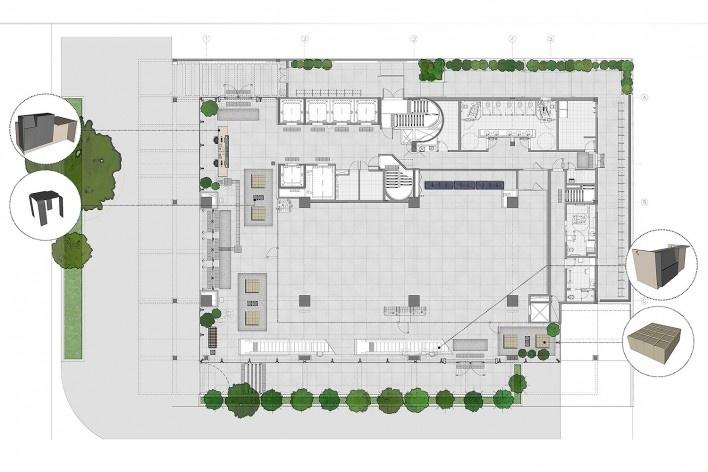 Sesc Avenida Paulista, planta térreo, escritório Königsberger Vannucchi, 2018<br />Imagem divulgação  [Königsberger Vannucchi Arquitetos Associados]