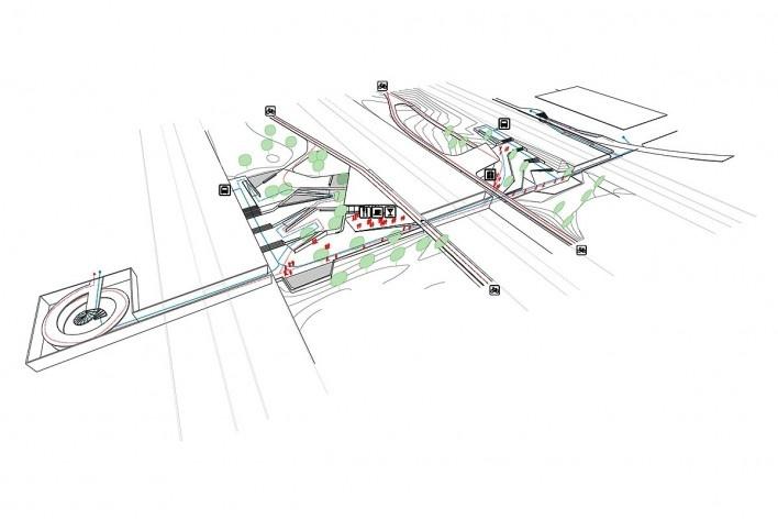 Tipo 2: tipo 1 + dobras do platô em ambas as passagens. Concurso Passagens sob o Eixão. Primeiro colocado<br />divulgação