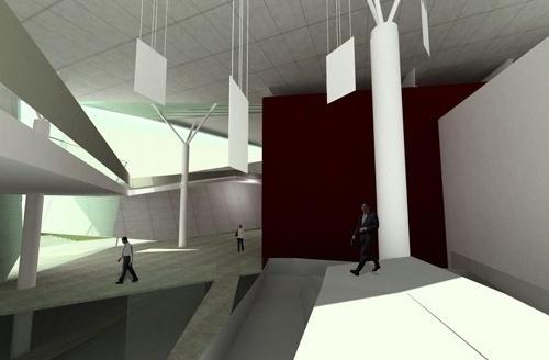 """Perspectiva do foyer com as passarelas e as placas """"tecarquitetônicas""""<br />Imagem do autor do projeto"""