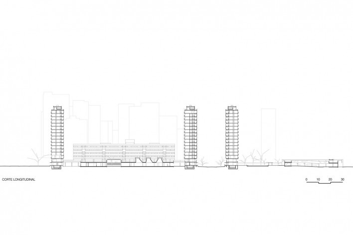 Corte longitudinal, conjunto habitacional do Jardim Edite<br />Desenho MMBB & H+F