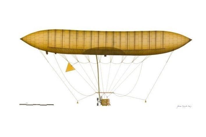 """O dirigível nº1, criado em 1898, unia sem perigo motor de explosão e balão de hidrogênio. Desenho de Flavio Lins de Barros. Exposição """"Santos Dumont designer"""""""