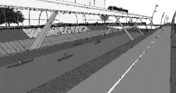 Av. Ipiranga e Arroio Dilúvio – Via Universitária, Exemplo de área do arroio Dilúvio despoluído e utilizado como lazer, Moacyr Moojen Marques e Sergio Moacir Marques.