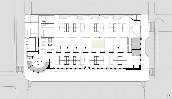 1º lugar Concurso Mercado Público de Lages, planta térreo, Lages. Escritórios Zulian Broering + Zanatta Figueiredo<br />Imagem divulgação