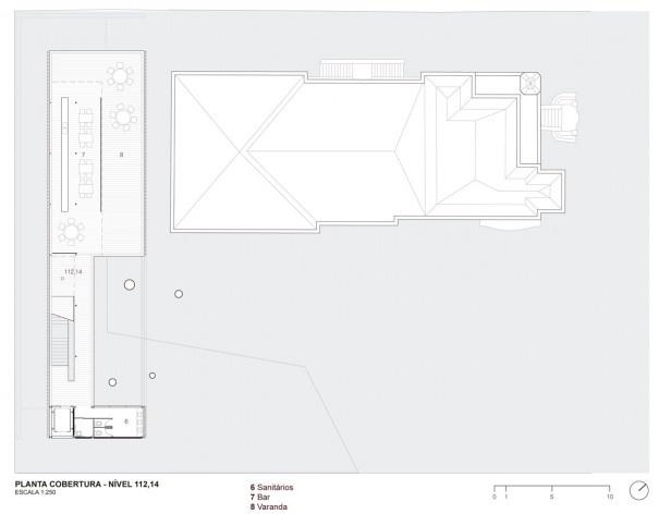 Museu da Diversidade Sexual, planta cobertura, nível 112,14. Hereñú + Ferroni Arquitetos, 2014<br />Imagem divulgação