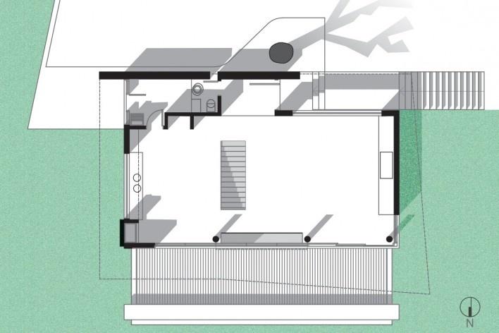 Residência SM (Casa Borboleta), planta superior, Caxias do Sul RS, arquitetos Fernando dos Santos Rocha Machado e Rovena Maria Schumacher<br />Imagem divulgação