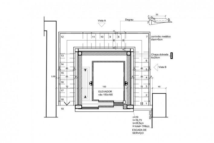 Casa Lutzenberger, planta escadas. Reforma Kiefer arquitetos
