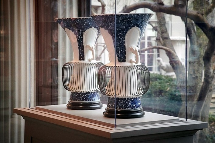 "A rare pair of early Meissen ""birdcage"" vases on view in The Frick Collection's new Portico Gallery for Decorative Arts and Sculpture<br />Photo Michael Bodycomb"