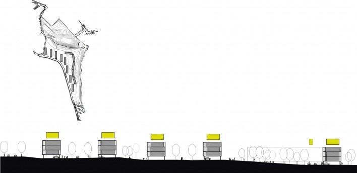 Exemplo de implantação em terreno de pequena inclinação. Concurso Habitação para Todos.CDHU. Edifícios de 4 pavimentos- 2º lugar.<br />Autores do projeto  [equipe premiada]