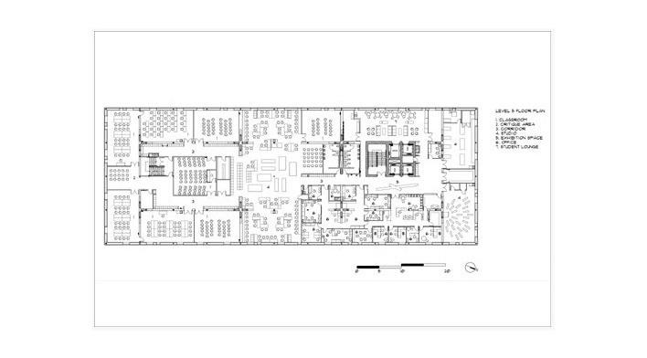 Sharp Center, planta 5o pavimento, Toronto, arquiteto Will Alsop, 2004. Legenda: 1. sala de aula; 2. zona crítica; 3. corredor; 4. estúdio; 5. exposição; 6. escritório; 7. sala de estudantes<br />Imagem Alsop Architects